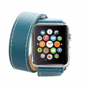 Leather Double Tour Blue Watchband for Apple Watch